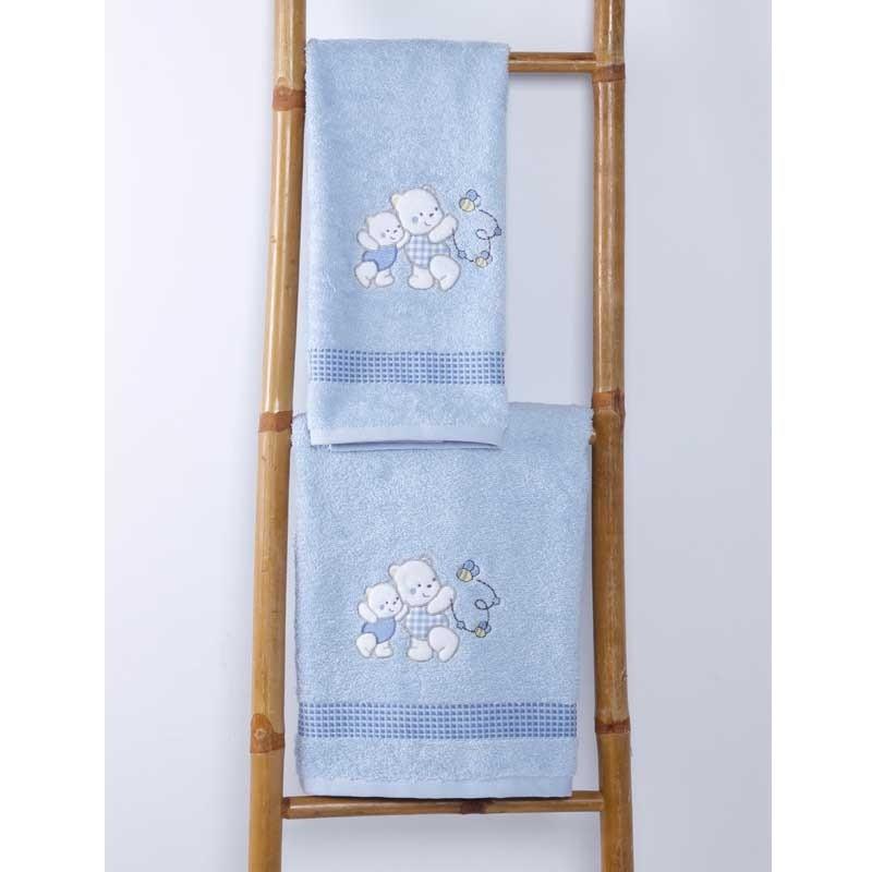 Σετ Πετσέτες Βρεφικές Sb Home Teddy Bear Blue 05.00101