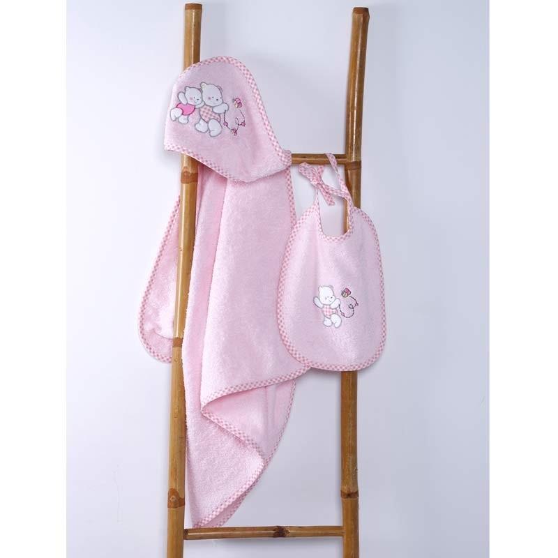 Βρεφικό Σετ Κάπα με Σαλιάρα Sb Home Teddy Bear Pink 05.00112