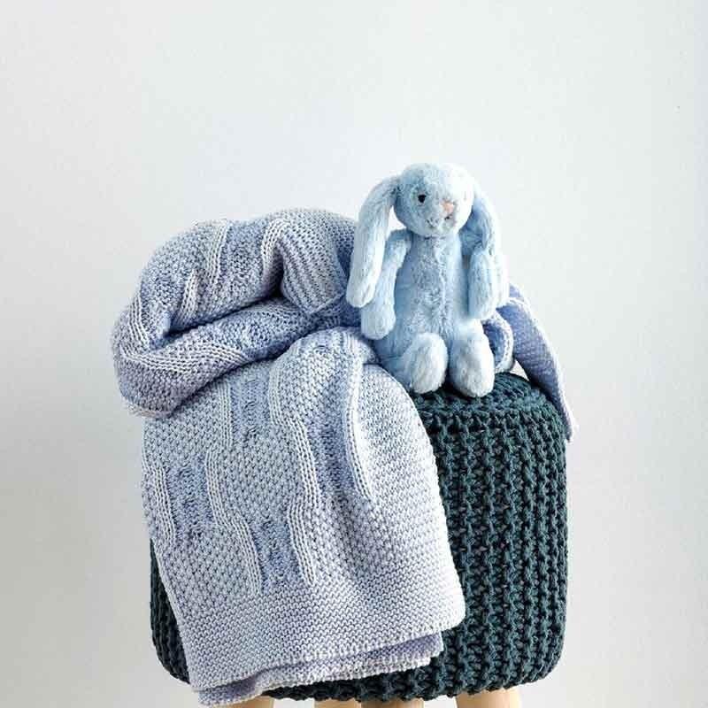 Κουβέρτα Αγκαλιάς Πλεκτή Βρεφική Sb Home Tress Blue 05.00233