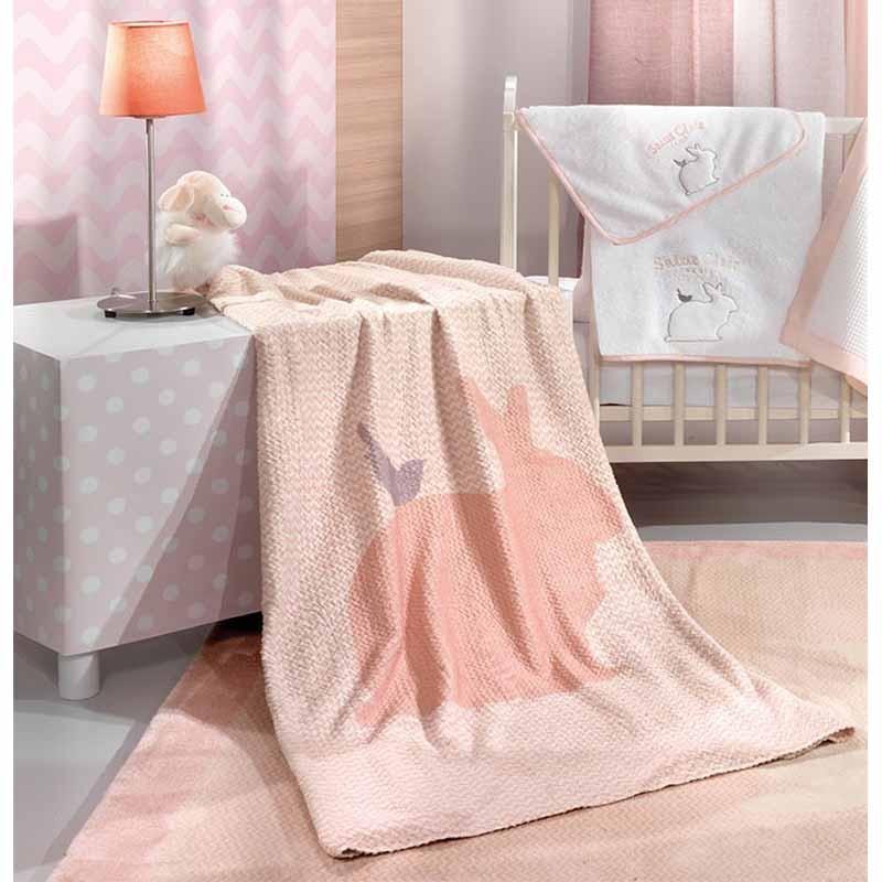 Βρεφική Κουβέρτα Κούνιας Saint Clair Paris Ultra Soft Lapin Pink