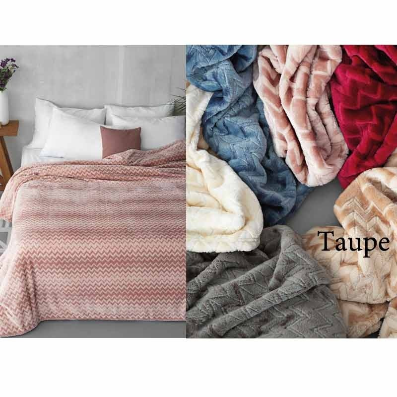 Κουβέρτα Φλις Υπέρδιπλη Palamaiki Flannel Fleece Collection Zig Zag Taupe
