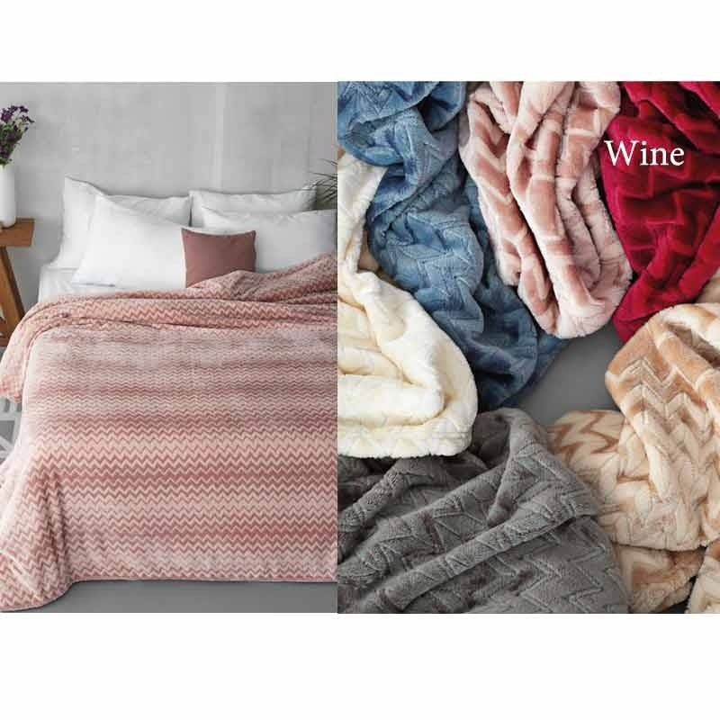 Κουβέρτα Φλις Ημίδιπλη Palamaiki Flannel Fleece Collection Zig Zag Wine