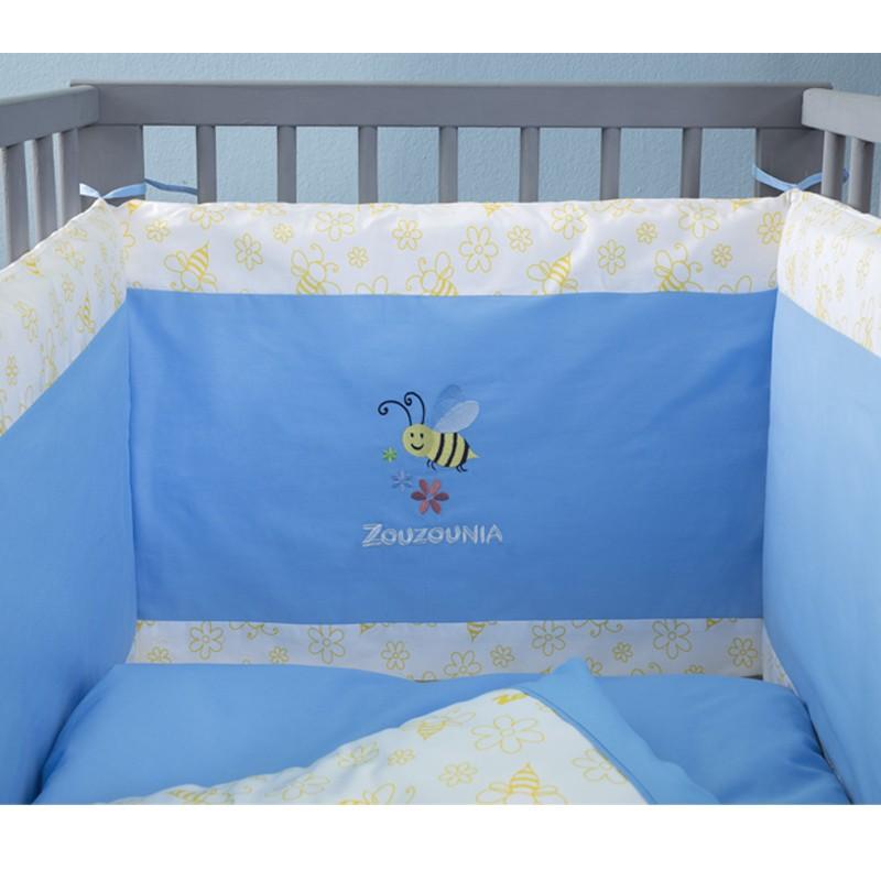 Βρεφική Πάντα Κρεβατιού Zouzounia, 100% Βαμβάκι, με Κέντημα Μέλισσα ZOU-BD-081