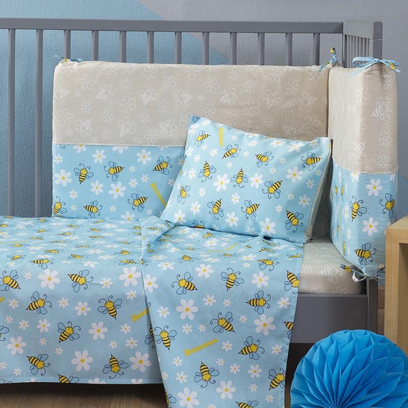 Βρεφική Πάντα Κρεβατιού Zouzounia, 100% Βαμβάκι, με σχέδιο Μέλισσα, χρώμα Μπεζ ZOU-BD-088