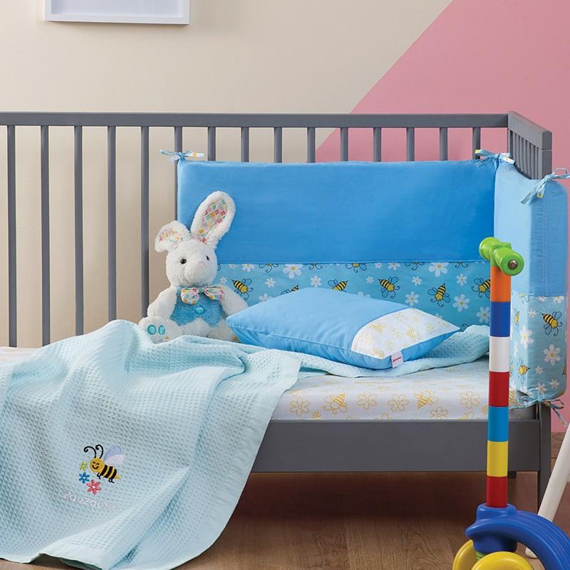 Βρεφική Πάντα Κρεβατιού Zouzounia, 100% Βαμβάκι, με σχέδιο Μέλισσα, χρώμα Γαλάζιο ZOU-BD-089